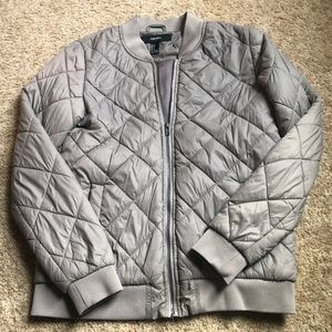 Tan Quilted Bomber Jacket